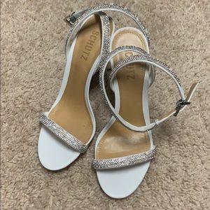 White Shutz heels